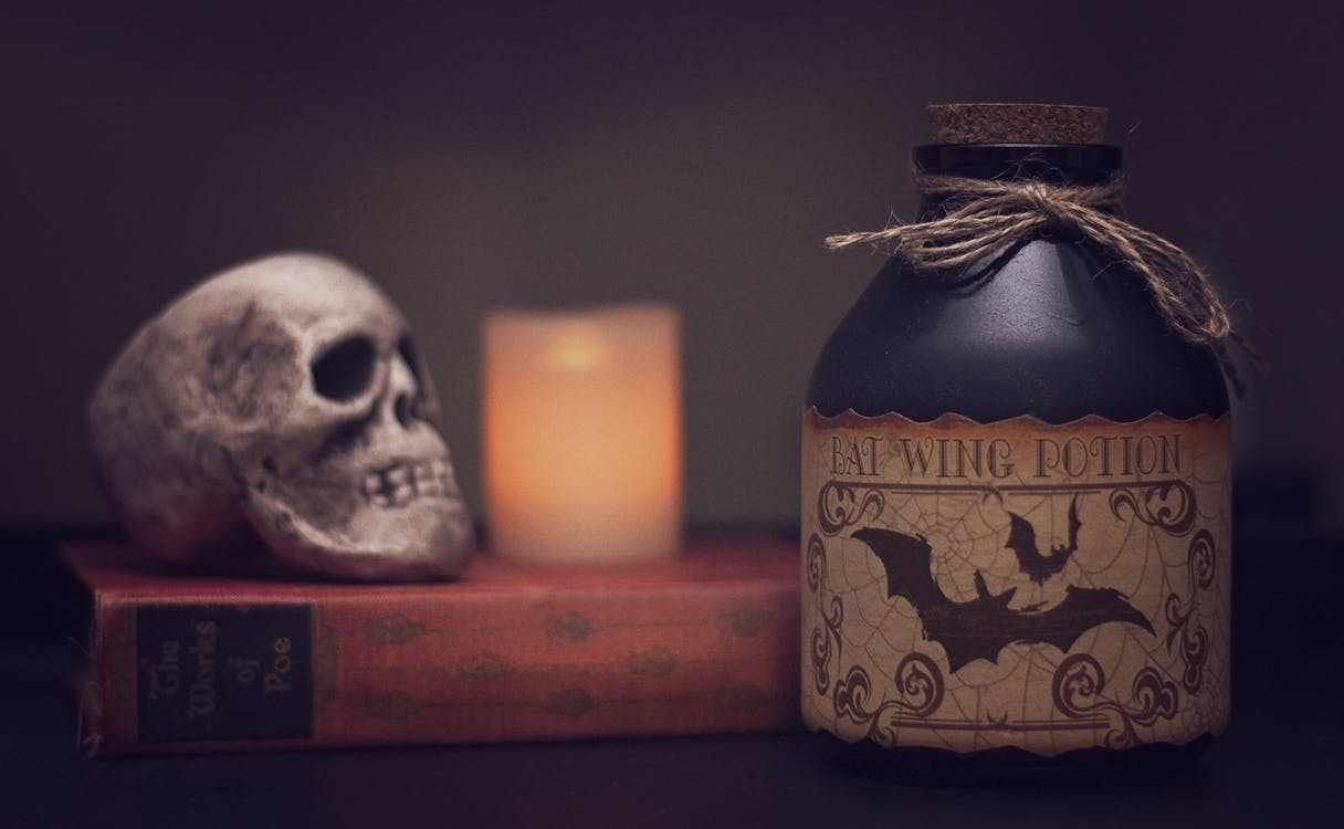 Halloween skull and potion